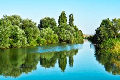 Nálepka Nehir suları ve ağaçların yansıması