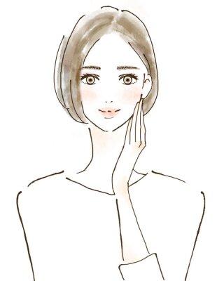 Nálepka 女性 イラスト 幸せ 美容 健康的 スキンケア 美魔女
