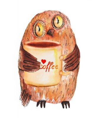 Nálepka Sova s šálkem kávy. Akvarel ruční kresba