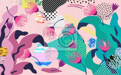 Nálepka Tropické džungle listy a květy pozadí. Barevné tropické plakát design. Exotické listy, květiny, rostliny a větve umělecký tisk. Botanický vzor, tapety, textilie vektorové ilustrace design