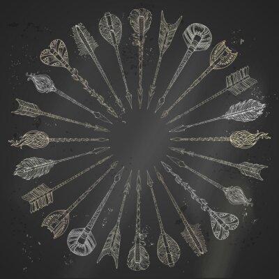 Nálepka Vektorové křída etnickým ¹ipkami kolo rám.