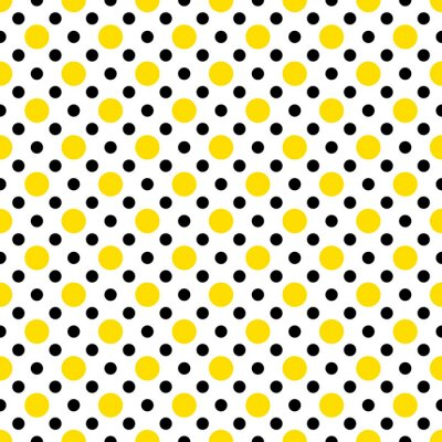 Nálepka Yellow & Black Polka Dots na bílém pozadí tapetu