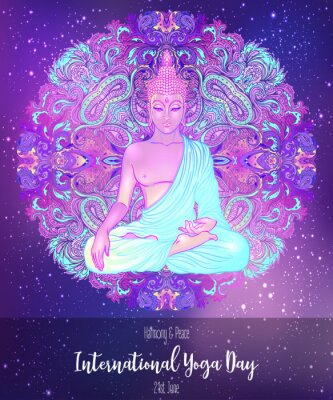 Nálepka Yoga card design. Colorful template for spiritual retreat or yoga studio. Ornamental business cards, oriental pattern. Vector illustration.