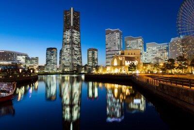 Nálepka Yokohama panoráma města v noci