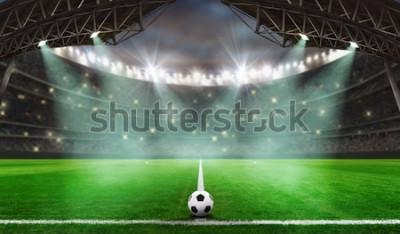 Nálepka začíná fotbalová hra - fotbalový míč na stadionu