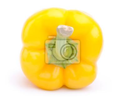 Nálepka Zadní pohled žlutá paprika na bílém pozadí s ořezovou cestou