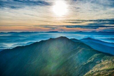 Nálepka Západ slunce na horách