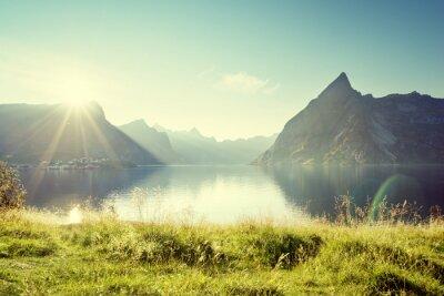 Nálepka Západ slunce v Lofoten ostrovy, Norsko