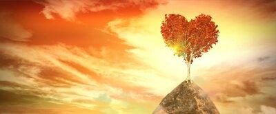 Nálepka západu slunce se stromem srdce
