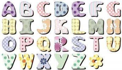 Nálepka zápisníku abeceda na bílém pozadí