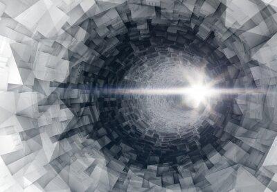 Nálepka Zapnutí 3d interiér digitální tunel s zářící koncem