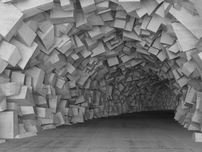 Nálepka Zapnutí beton vnitřek tunelu, 3d render