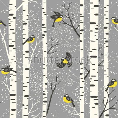 Nálepka Zasněžené břízy a ptáci na náročné pozadí. Bezešvé vzor vektoru. Perfektní pro design tkanin, tapet, dárkových obalů nebo pohlednic.