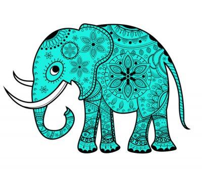 Nálepka Zdobené vektor slon, elefante vettoriale decorato