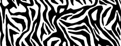 Nálepka Zebra fur repeating texture. Animal skin stripes, jungle wallpapers. Black and white seamless pattern. Vector