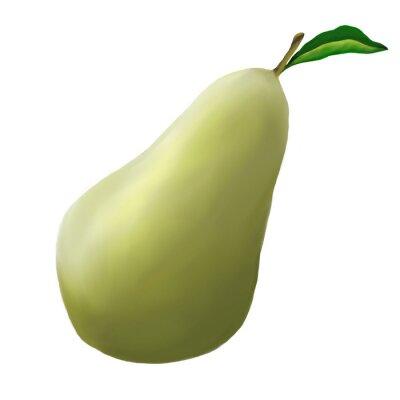 Nálepka Zelená hruška na bílém pozadí