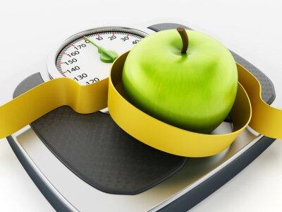 Nálepka Zelené jablko a svinovací metr na váze měřítku