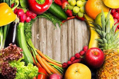 Nálepka Zelenina a ovoce ve tvaru srdce