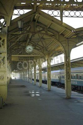 Nálepka Železniční stanice - 5 - Železniční stanice plošinovka s visí hodiny,