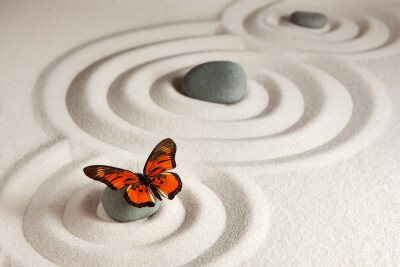 Nálepka Zen kameny s motýlem