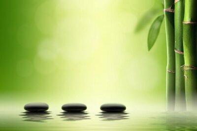 Nálepka Zen koncepce. Černá spa kameny v bambusovém lese.