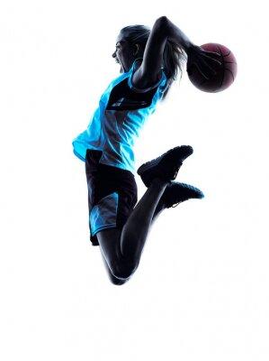 Nálepka Žena basketbalový hráč silueta
