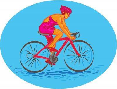 Nálepka Žena Cyklista na koni Bike Drawing
