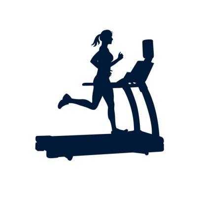 Nálepka žena dělá cvičení na běžeckém pásu, na bílém pozadí,
