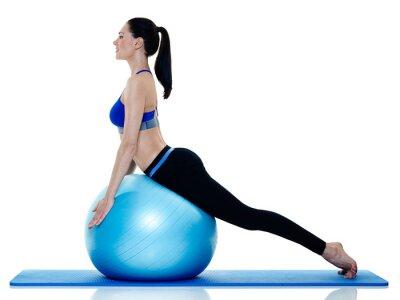 Nálepka žena fitness pilates exercices izolované