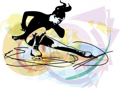 Nálepka Žena krasobruslař bruslení na pestré sportovní aréně