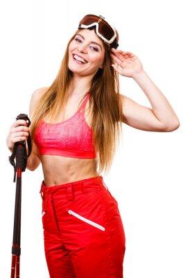 Nálepka Žena lyžař brýle s lyžařské hůlky. zimní sport