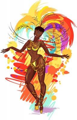Nálepka Žena samba tanečník