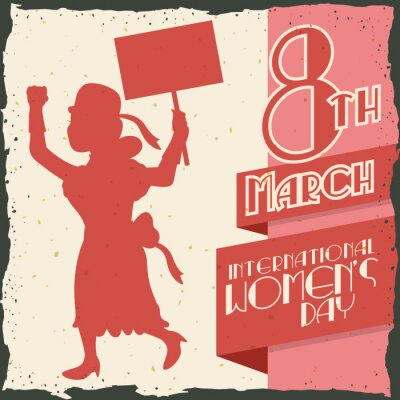Nálepka Žena Silhouette Marching ve dne žen Retro Poster, vektorové ilustrace IlVector