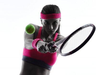 Nálepka Žena tenista portrét silueta