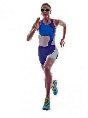 Nálepka žena triatlon Ironman běžec běží sportovec