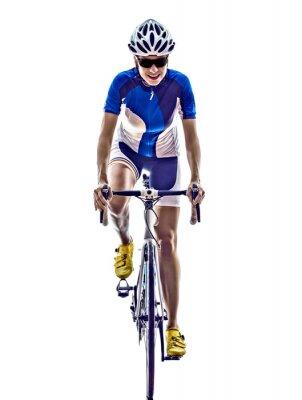 Nálepka žena triatlon Ironman sportovec cyklista jízda na kole