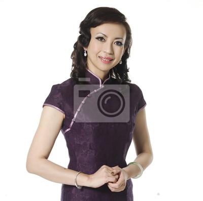 eb23eba12fc3 Žena v cheongsam čínské šaty nálepky na notebook • nálepky na zeď ...