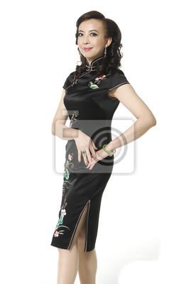 5c82aa07fbf5 Žena v cheongsam čínské šaty nálepky na notebook • nálepky na zeď ...