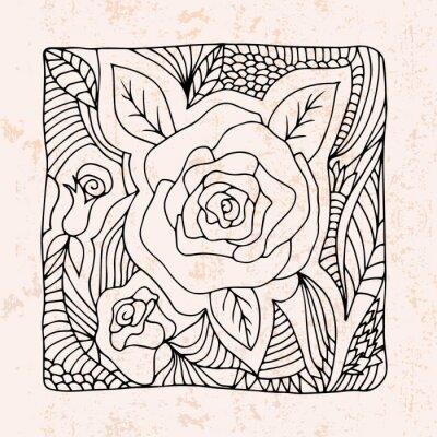 Nálepka Zentangle s růží a listy