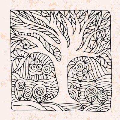 Nálepka Zentangle se stromem a květiny