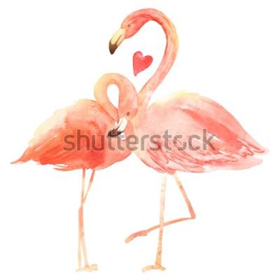 Nálepka Žijící korálové plameňáci v lásce. Akvarel Happy Valentine den přání. Ručně kreslenými. Růžový