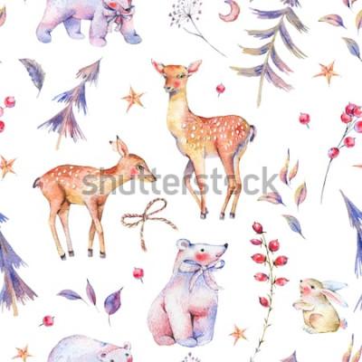 Nálepka Zimní akvarel vintage bezešvé vzor s roztomilý lední medvědi, jeleni, plavá, zajíc a magický les na bílém pozadí, vánoční dekorace, kreslený obrázek