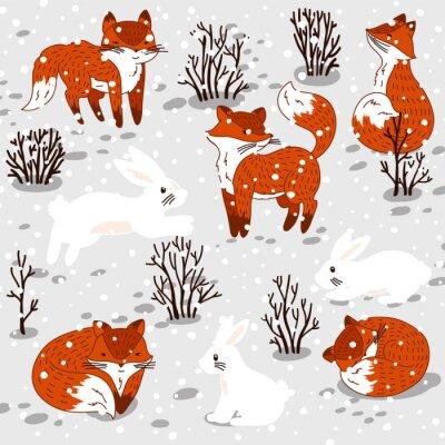 Nálepka Zimní ilustrace s roztomilou lišky a zajíčka.
