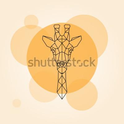 Nálepka Žirafa hlavy geometrické linie silueta izolovaných na oranžový kruh. Vektorové ilustrace.