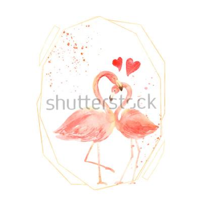 Nálepka Živé korálové plameňáci v lásce. Akvarel Happy Valentine den přání. Ručně kreslenými. Růžový