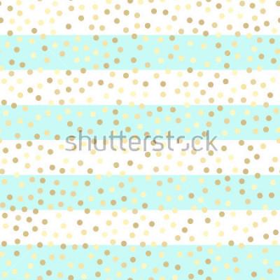 Nálepka Zlaté třpytivé kapky na tyrkysové a bílé pruhy. Bezešvá vektorová vzorek na pruhované máta a zlaté pozadí. Lesklé svátky pozadí. Zlatý třpyt vzor. Zlaté kovové fólie pozadí.