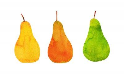 Nálepka žlutá, oranžová, zelená hrušky izolované