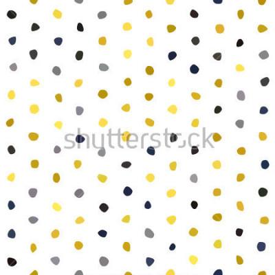 Nálepka Žlutá šedá tmavě modrá hořčice polka dot bezešvé vzor na bílém pozadí. Kulatý polygon kámen textura. Abstraktní vektor pro tisk, textilní, balení, tkaniny, balíček, kryt, blahopřání