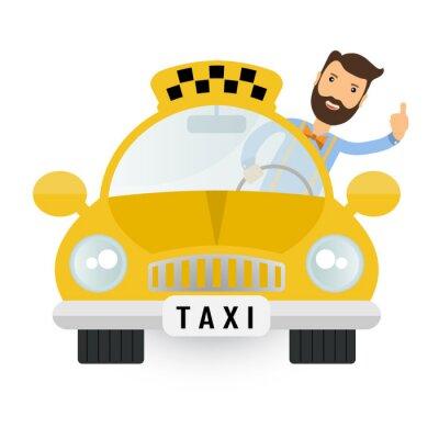 Nálepka Žlutá taxi auto - vector icon