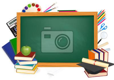 Zpátky do školy. zelený stůl se školní pomůcky. vector. nálepky na ... 819fa41d7f